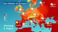 Temperaturen in Europa nach dem GFS-Modell